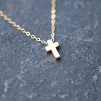 Matte gold cross charm necklace on delicate gold chain modern everyday minimalism, tiny gold cross necklace, dainty cross necklace