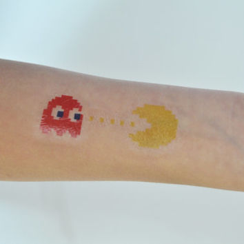 Pacman Temporary Tattoo, 90s Temporary Tattoo, Geek Tattoo Temporary, Birthday Present, Gift Ideas For Men