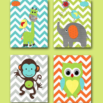 Monkey Nursery Owl Nursery Elephant Nursery Baby Boy Nursery Art Print Children Wall Art Baby Room Decor Giraffe Nursery set of 4 8x10 Print