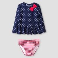 Toddler Girls' 2-Piece Stars & Stripes Rash Guard Set Cat & Jack™ - Blue & Red