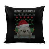 Cute Slothy Christmas Funny Festive Funny Ugly Christmas Holiday Sweater Decorative Throw Pillow Cases Cover(4 Colors)