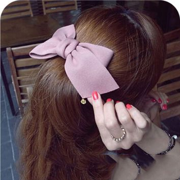 2017 New Arrival Fashion Lovely Big Solid Cloth Bows Hair Clips  for Women Girl Wedding Party Hairpins Hair Accessories Headwear
