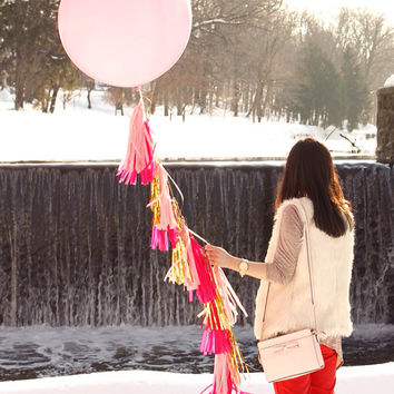 Balloon Tassel Garland - Pink and Gold 36 Inch Balloon Tassel Garland - Spring Decor, Mothers Day, Baby Shower, and Wedding Decor