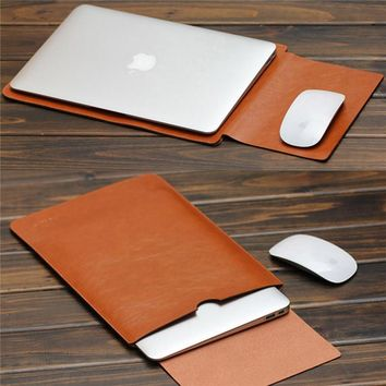 MacBook Air Pro 11 12 13 15 inch Laptop Vacuum Bag PU Leather Case Sleeve Notebook