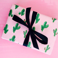 Cute Wrapping Paper: Cactus Desert print (pink and green wrapping paper)