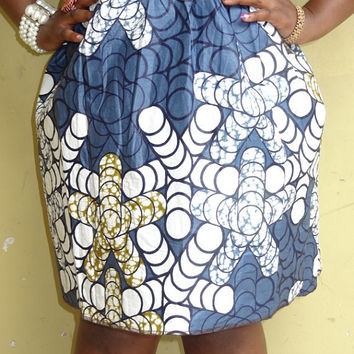 African print skirt with double pockets