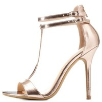 Rose Gold Metallic Double Ankle T-Strap Heels by Charlotte Russe