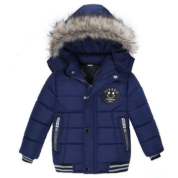 Blue Fur Kid Child Baby Toddler Winter Snow Coat Hoodie Sweater