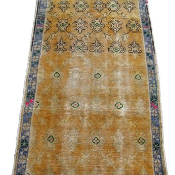 "Allover Design Handmade Rug, Tribal Rug, Oushak Carpet, 150x90 cm 58x35 inches 4'10""x2'11"" feet Yellow Field Blue Border Distressed rug"