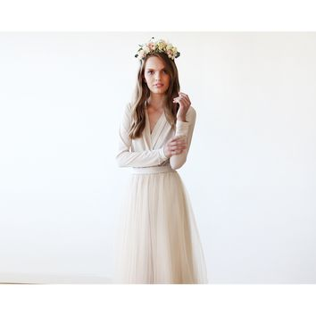 Pearl color wedding maxi tulle gown with long sleeves 1066