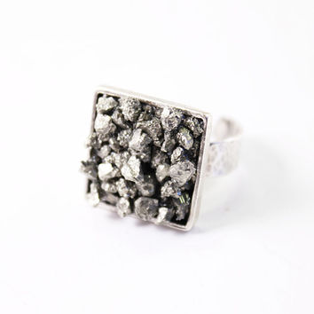 Raw pyrite ring, sterling silver adjustable rough crystal ring, raw gemstone ring, rough stone natural, modern ring, raw stone ring gray