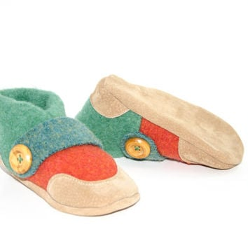 Kids Shoes, Toddler Slippers, from Recycled Wool & Non Slip Suede Leather, kids size 7.0 - 11.5.   Winter Breeze!