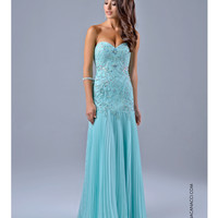 Nina Canacci 7121 Mint Green Drop Waist Pleated Dress 2015 Prom Dresses