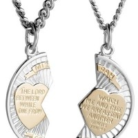Sterling Silver and Stainless Steel Mizpah Medal Necklace, 20