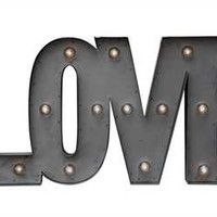 """Love"" Metal LED Lamp"