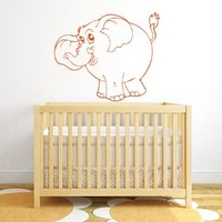Wall Vinyl Decal Sticker Elephant Funny Animal Art Design Nursery Room Nice Picture Decor Hall Wall Ki380