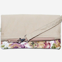 Floral Fold Over Clutch with Detachable Wristlet, Large Handbag, Eco-friendly Accessory, Beige Fabric, Pink Yellow White Flowers