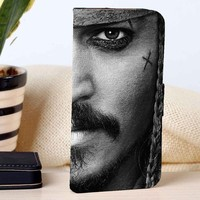 Captain Jack Sparrow Johnny Depp | Pirates of the Caribbean | Movie | custom wallet case for iphone 4/4s 5 5s 5c 6 6plus 7 case and samsung galaxy s3 s4 s5 s6 case