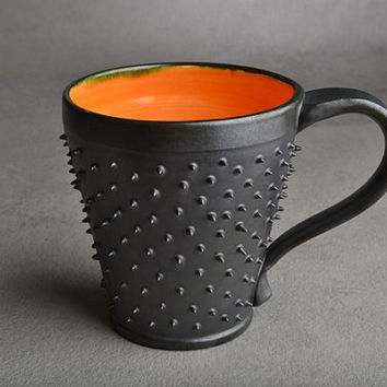 Spiky Mug Made To Order Black and Orange by symmetricalpottery