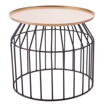 Tray End Table Lg Gold & Black