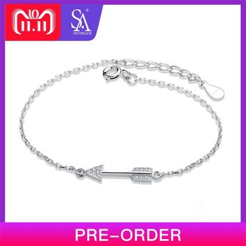 SA SILVERAGE 925 Sterling Silver Charm Bracelets & Bangles for Women Fine Jewelry Cupid Arrow Silver Bangle Bracelet Pulseiras