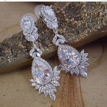 Shop Cz Chandelier Earrings Bridal on Wanelo