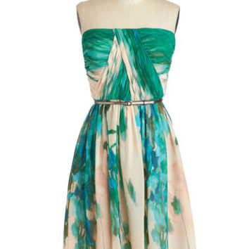 ModCloth Luxe Mid-length Spaghetti Straps A-line Scenery at Sunset Dress in Forest