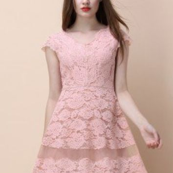 Back to Romanticism Pink Lace Dress - Retro, Indie and Unique Fashion