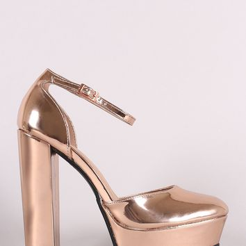 Bamboo Patent Ankle Strap Platform Pump
