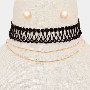 2 PCS Black & Gold Double Chain Choker Necklace and Earring Set