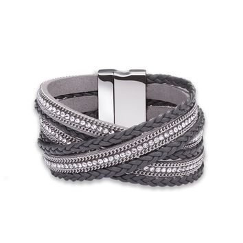 Men's Women Leather Bohemian Bracelet Woven Braided Handmade Wrap Black