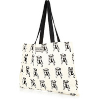 River Island Womens Cream pug print canvas shopper
