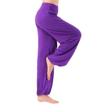 New Yoga Pants Women Plus Size Soft Light Bloomers Dance Yoga TaiChi Full Length Pants Smooth No Shrink Antistatic Pants Female