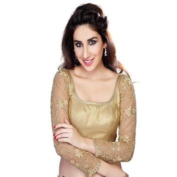 Designer Indian Traditional Gold Fancy Net Padded Long Sleeves Saree Blouse Choli (X-136)