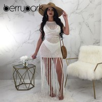 BerryPark Sexy Fish Net Tassel Bikini Cover Up Reversible Dress Women 2019 Hollow Out Knit Crochet Tunic Swim Suit Beach Wear
