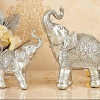 resin Europe style silver elephant artcraft two pieces ornaments,furnishings home decoration birthday gift a2404