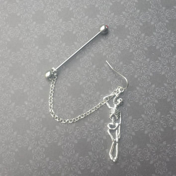 Skeleton - 14G Industrial Barbell and Earring with connecting chain!