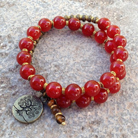 Stability, genuine carnelian gemstone 27 bead mala wrap bracelet™ with Tree of life charm