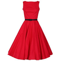 classy audrey hepburn boat neck red swing dress 2013009