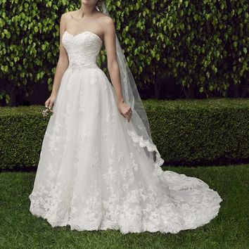Casablanca Bridal Cherry Blossom 2229 Strapless Lace Ball Gown Wedding Dress