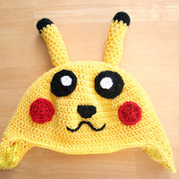 Pokemon Pikachu Hat, crochet hat for kids, Pokemon Go hat, Pokemon hat for kids