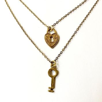 heart padlock and skeleton key layered necklaces (set of 2 necklaces), his and hers / couple / best friends necklaces