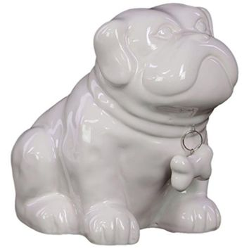 Ceramic Sitting Bulldog Puppy Coin Bank With Bone Pendant On Dog Collar Gloss White