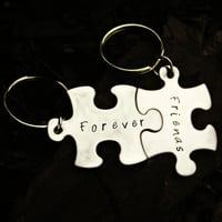 Forever Friends Sisters Puzzle Pieces Hand Stamped Keychain