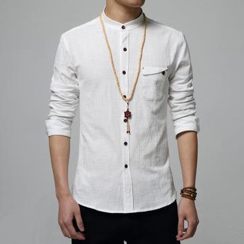Stand Collar Casual Shirt