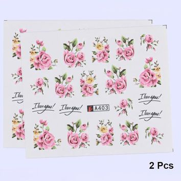 Flower Series 3D Nail Sticker Water Decals Colorful Rose Floral Ink Painting Adhesive Manicure Nail Art Transfer Sticker
