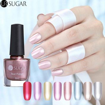 UR SUGAR 6ml Metallic Nail Polish Mirror Effect Lacquer Rose Gold Silver Shiny Metal Nail Varnish Manicure Nail Art Polish DIY