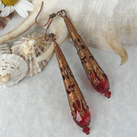 Earrings Gothic Copper Tone Red Crystal Free Worldwide Shipping