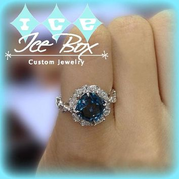 London Blue Topaz Engagement Ring 8mm, 3.1ct Cushion Cut in a 14K White Gold Diamond Floral Halo Setting