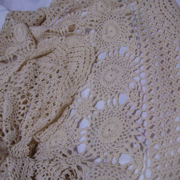 Handmade Crochet Tablecloth Beige /Natural  Victorian Lace Shabby Chic Bridal Shower Heirloom Quality Wedding Gift